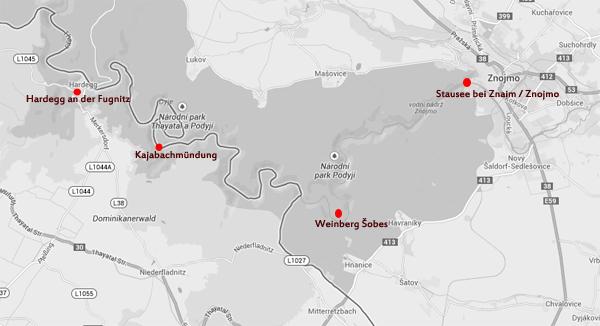 Hier lassen sich die Stationen der ersten Bibersichtungen von Tschechien ausgehend in Richtung Österreich nachverfolgen.